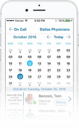 on call scheduling feature for physicians and nurses