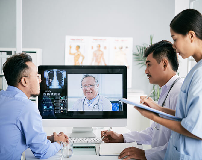 Clinicians provide online consults using telehealth technology